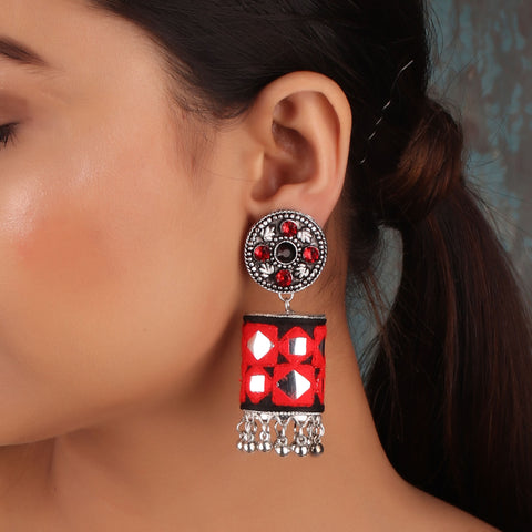 Earrings,The Artwork Earring in Red & Black - Cippele Multi Store