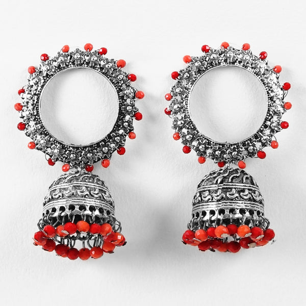 Earrings,Endearing Earrings with Jhoomer in Red - Cippele Multi Store