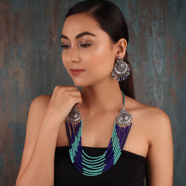 Necklace Set,The Metal Beaded Bohemian Necklace Set in Shades of Blue - Cippele Multi Store