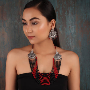 Necklace Set,The Metal Beaded Bohemian Necklace Set in Red & Black - Cippele Multi Store