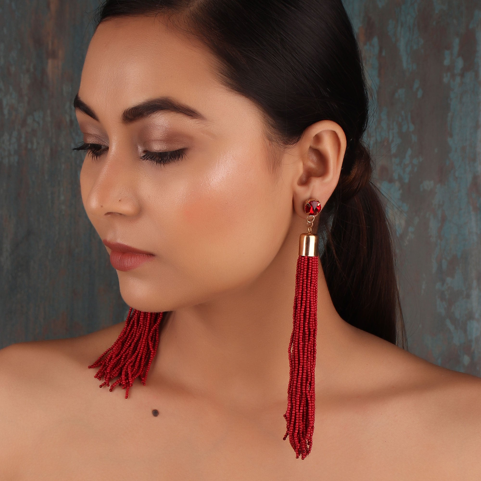 Earrings,The Straight Vine Beaded Tassel Earrings in Maroon - Cippele Multi Store
