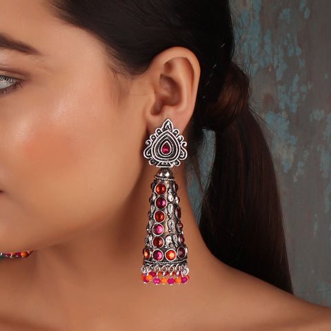 Earrings,The Surreal Treasure Cone Earrings with Pink & Orange Stones - Cippele Multi Store