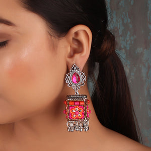 Earrings,The Dazzling Stone Beaded Earring in Pink & Orange - Cippele Multi Store