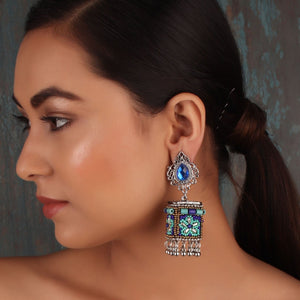 Earrings,The Dazzling Stone Beaded Earring in Shades of Blue - Cippele Multi Store