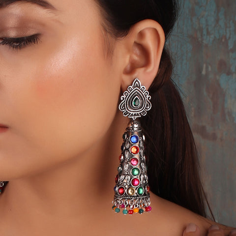 Earrings,The Surreal Treasure Cone Earrings with Multicolored Stones - Cippele Multi Store