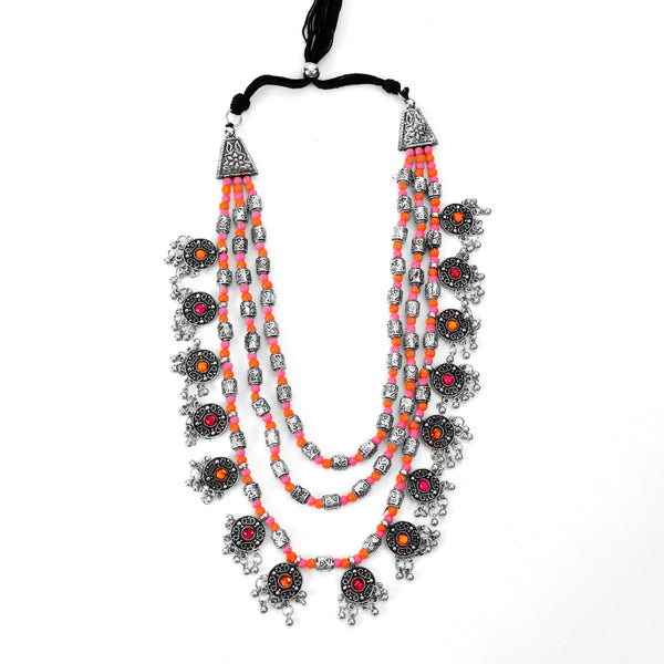 The Cookie Layered Necklace in Pink & Orange