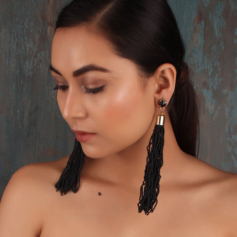 Earrings,The Straight Vine Beaded Tassel Earrings in Black - Cippele Multi Store