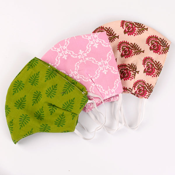 The Fern, Gorgeous Vines and Flower Bud Face Mask- Set of 3