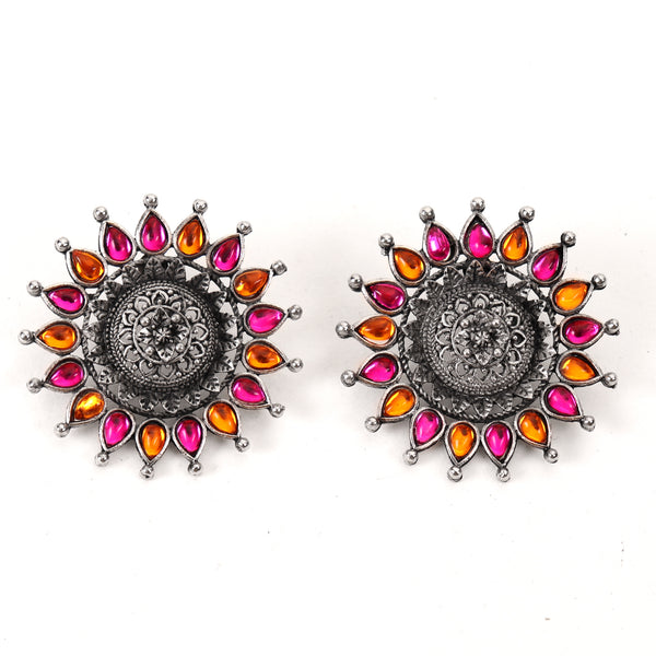 Earrings,The Sun Flower Studs in Pink & Orange - Cippele Multi Store