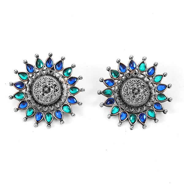 Earrings,The Sun Flower Studs in Sea Blue & Sea Green - Cippele Multi Store