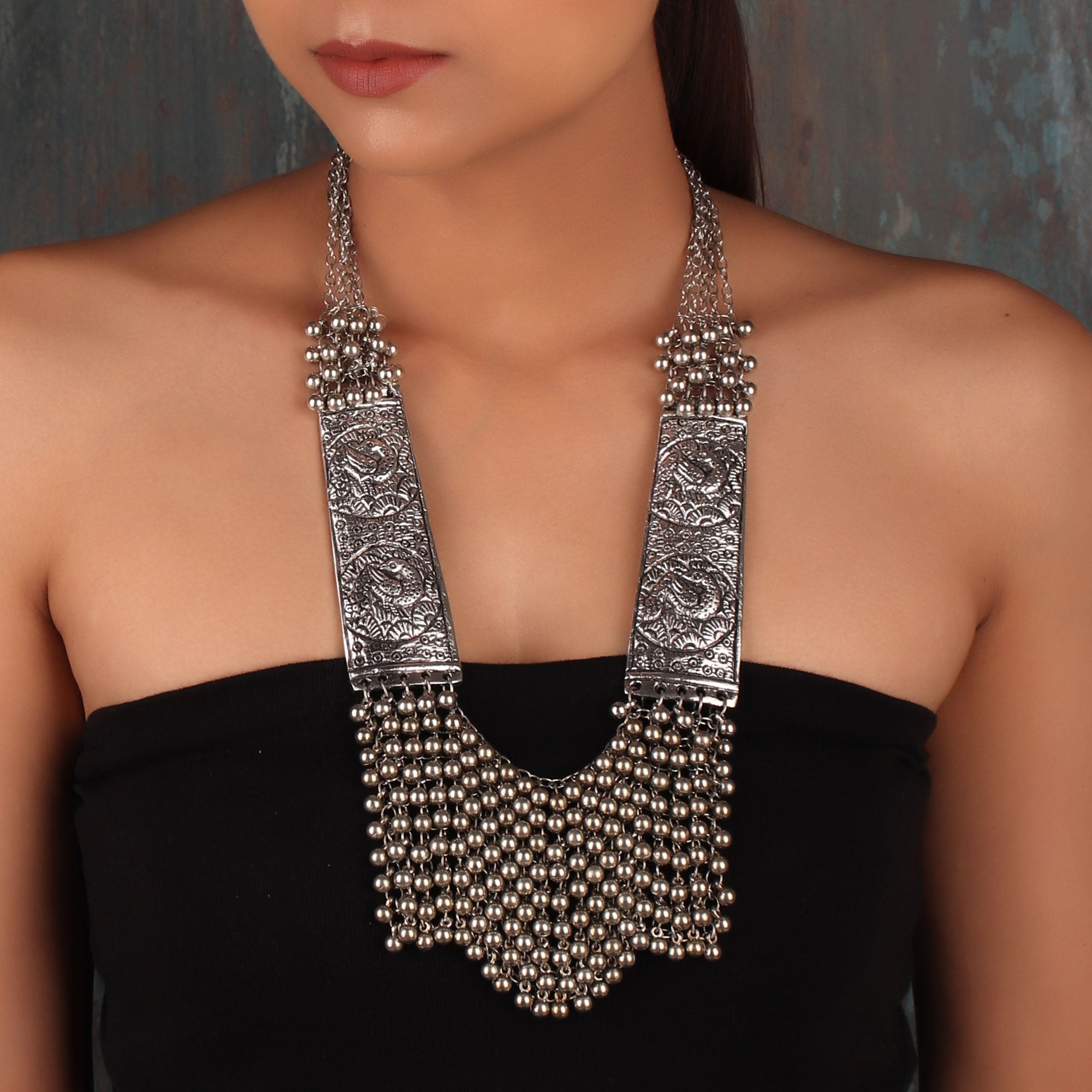 Necklace,The Egyptian beaded Princess Necklace in Oxidized Silver - Cippele Multi Store