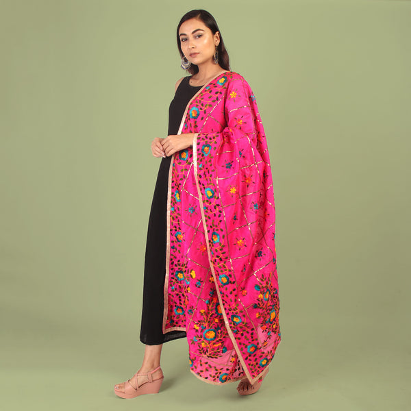 Dupatta,The Pretty Cutie Creeper Phulkari Dupatta - Cippele Multi Store