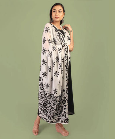 Dupatta,The Flower Bud Black & White Phulkari Dupatta - Cippele Multi Store