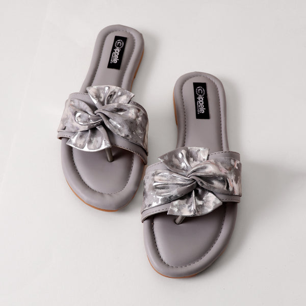 Foot Wear,Twist That Knot Flats in Grey - Cippele Multi Store
