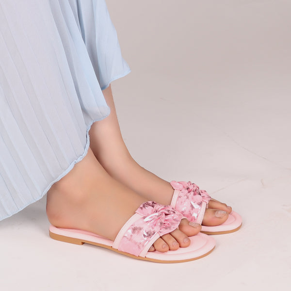 Foot Wear,Twist That Knot Flats in Baby Pink - Cippele Multi Store