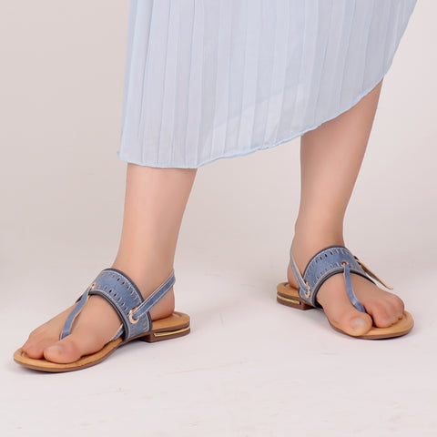 Foot Wear,Zip it up Flats in Blue - Cippele Multi Store