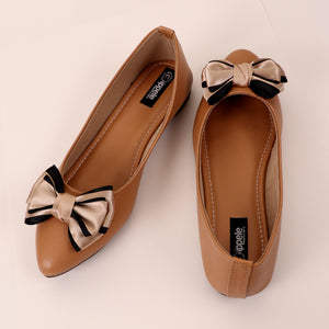 Foot Wear,Satin Bow Bellies in Beige - Cippele Multi Store