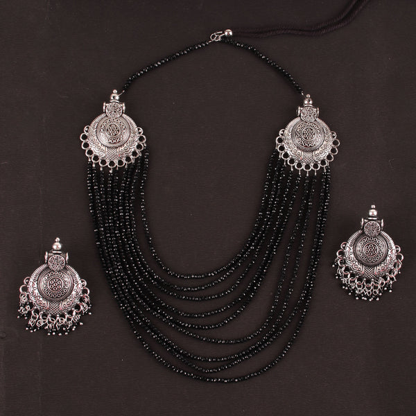 Necklace Set,The Metal Beaded Bohemian Necklace Set in Black - Cippele Multi Store
