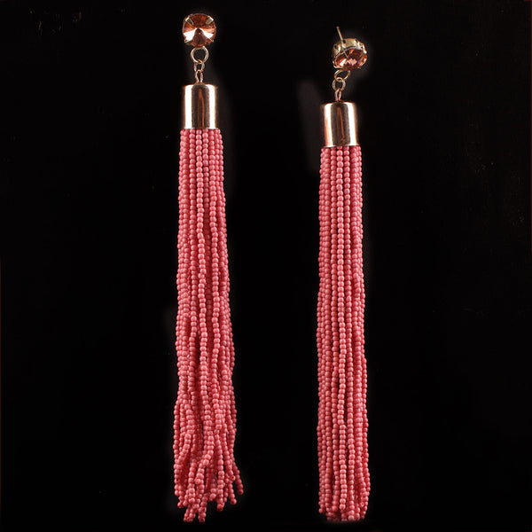 Earrings,The Straight Vine Beaded Tassel Earrings in Pink - Cippele Multi Store