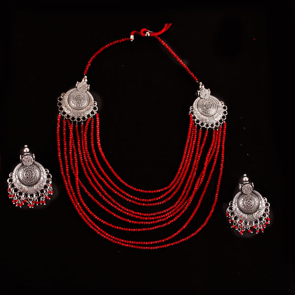 Necklace Set,The Metal Beaded Bohemian Necklace Set in Red - Cippele Multi Store