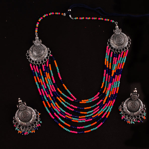 Necklace Set,The Metal Beaded Bohemian Necklace Set in Multicolor - Cippele Multi Store