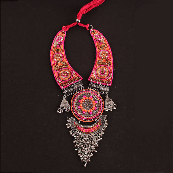 Necklace,The Picasso Art Necklace in Pink & Orange - Cippele Multi Store
