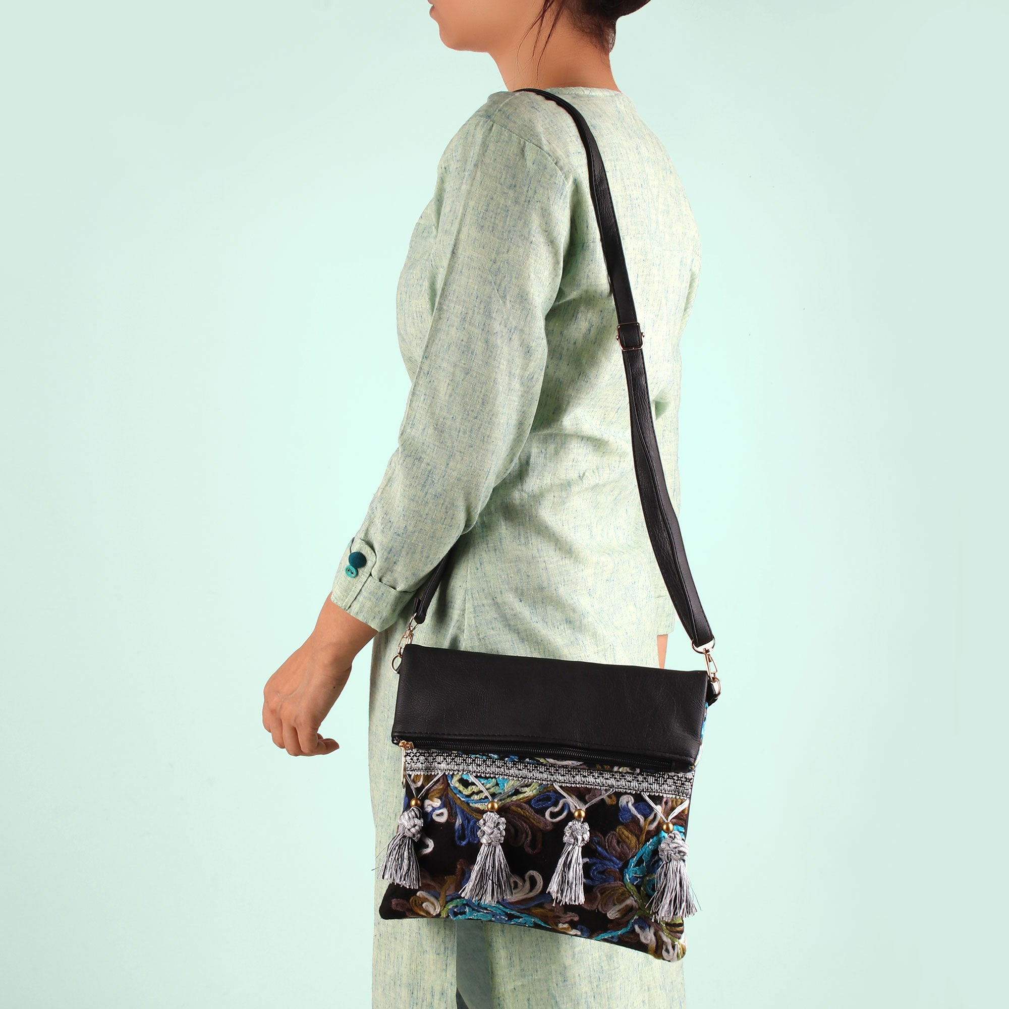 Sling Bag,The Roohdar Art Black Sling Bag with Blue Embroidery - Cippele Multi Store