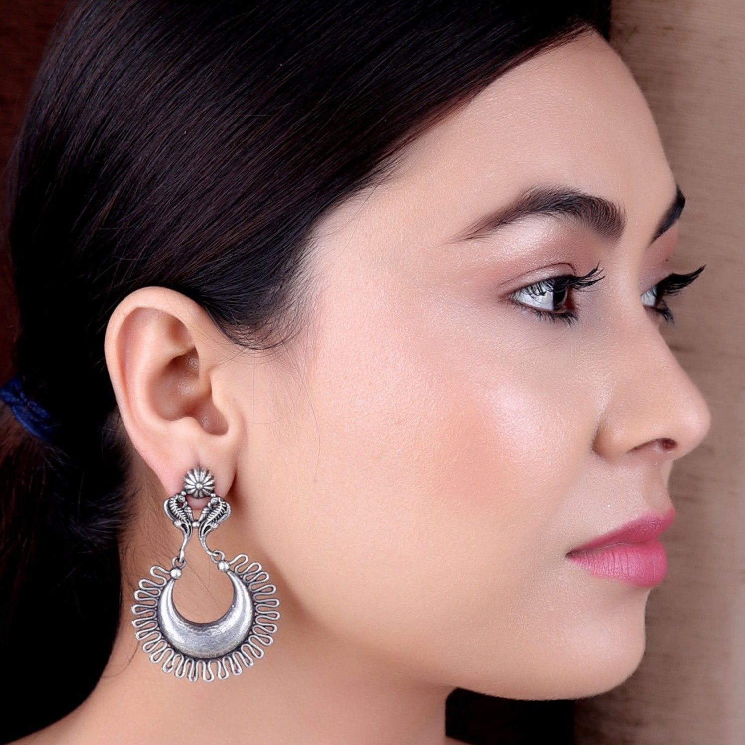Earrings,The Fenced Crescent Silver Look Alike Earrings - Cippele Multi Store