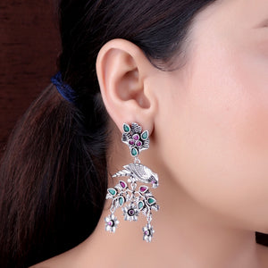 The Glistening Parrot Earrings with Magenta & Green Stones