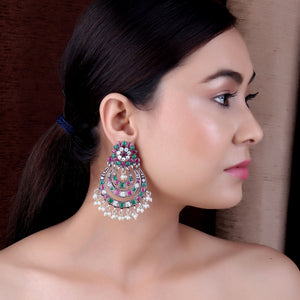 Earrings,The Nagma Earring with Magenta, Green & White Stone - Cippele Multi Store