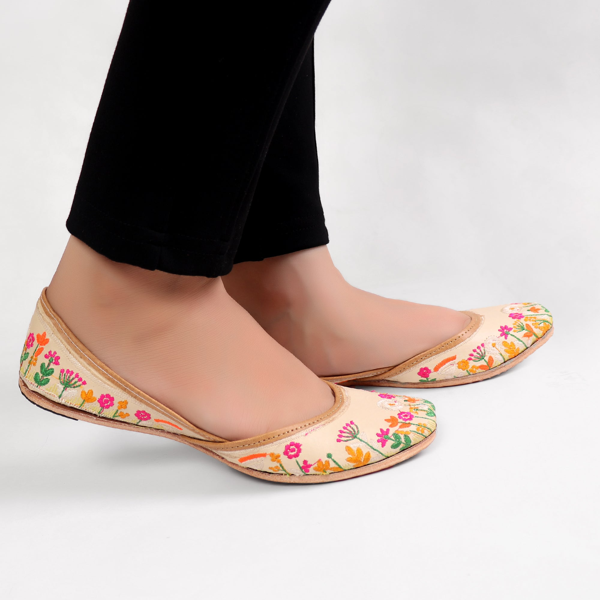 Foot Wear,Flowers for you Nagra Jutti - Cippele Multi Store