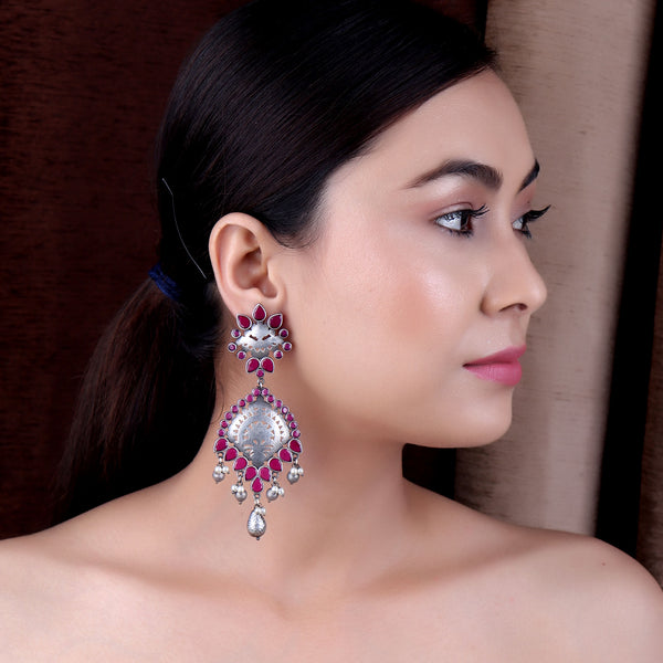 The Fringe Silver Look Alile Earrings with Magenta Stones