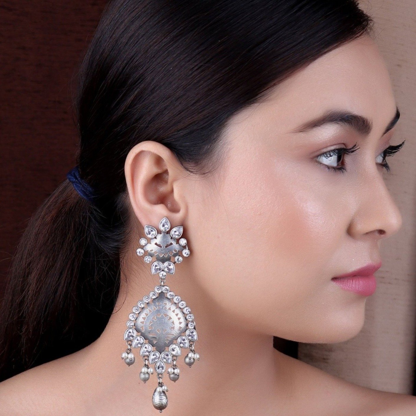 Earrings,The Fringe Silver Look Alile Earrings with White Stones - Cippele Multi Store