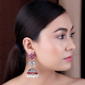 Earrings,The Baby Jumbo Earring with Maroon Stones & Red Beads - Cippele Multi Store