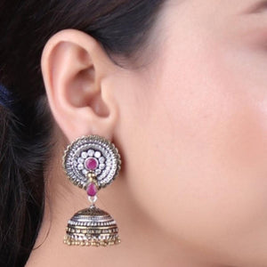 Earrings,The Daisy Earrings in Dual Tone with Magenta & White Stone - Cippele Multi Store