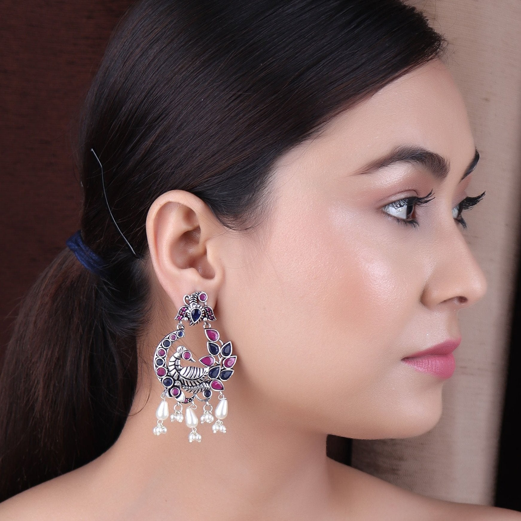 The Royal Princess Earrings with Magenta & Blue Stone