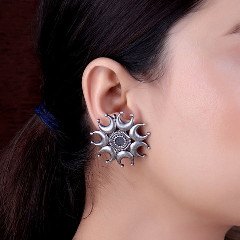 Earrings,The Moonlet Silver Look Alike Stud - Cippele Multi Store