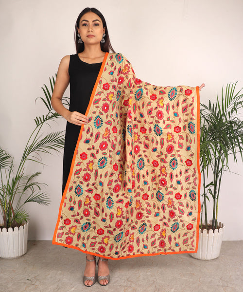 Dupatta,The Puspavati Phulkari Dupatta with Red Flowers - Cippele Multi Store