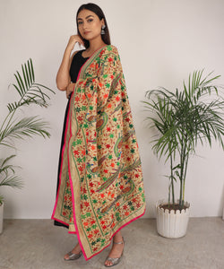 The Phulanca Green Peacock Phulkari Dupatta