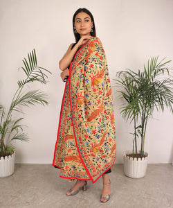 The Phulanca Orange Peacock Phulkari Dupatta