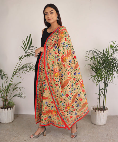 Dupatta,The Phulanca Orange Peacock Phulkari Dupatta - Cippele Multi Store