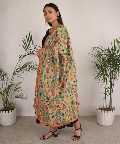 Dupatta,The Puspavati Phulkari Dupatta with Green Flowers - Cippele Multi Store