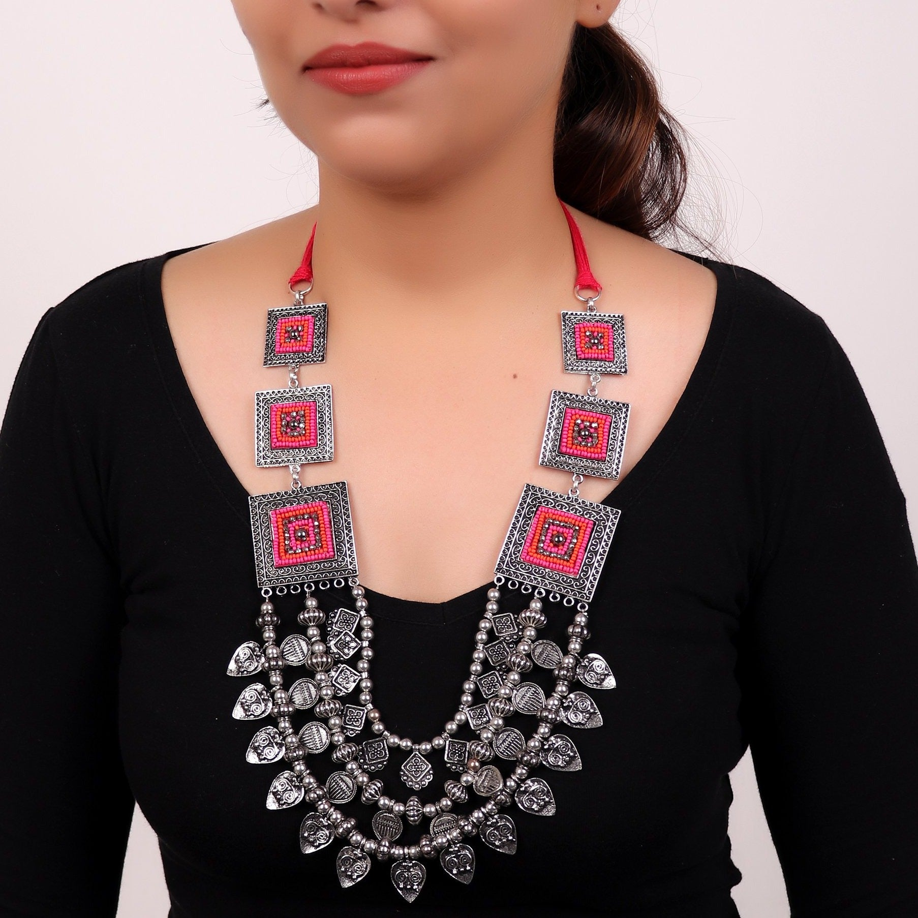 Necklace,Statement Layered Necklace with Pink Accents - Cippele Multi Store