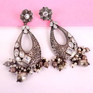 Earrings,The Paradise Silver Look Alike Earrings with White Stone - Cippele Multi Store