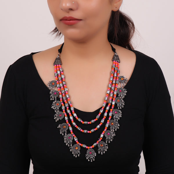 Necklace,The Cookie Layered Necklace in Pink & Orange - Cippele Multi Store