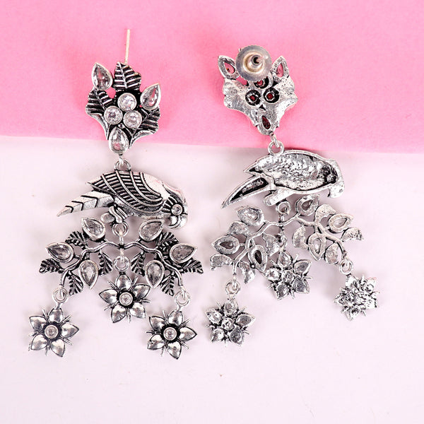 Earrings,The Glistening Parrot Earrings with White Stones - Cippele Multi Store