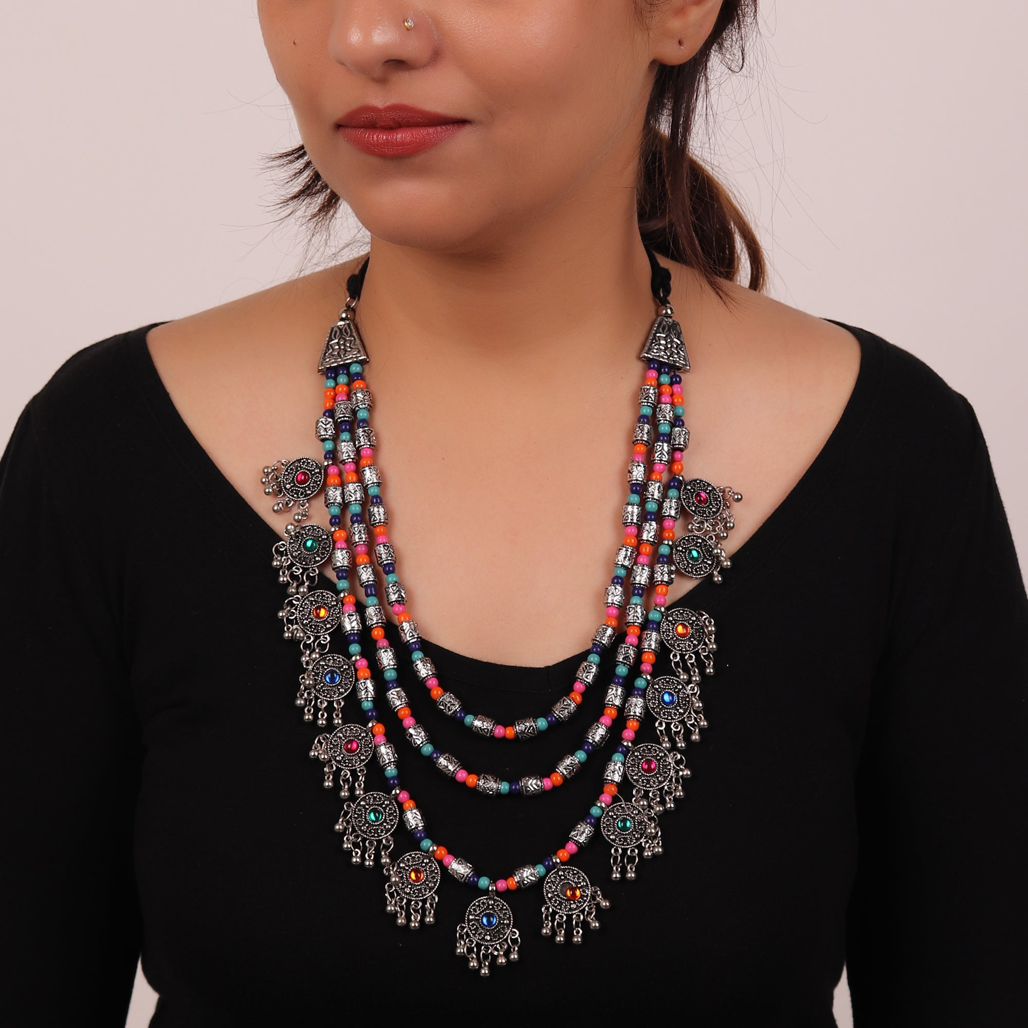 Necklace,The Cookie Layered Necklace in Multicolor - Cippele Multi Store