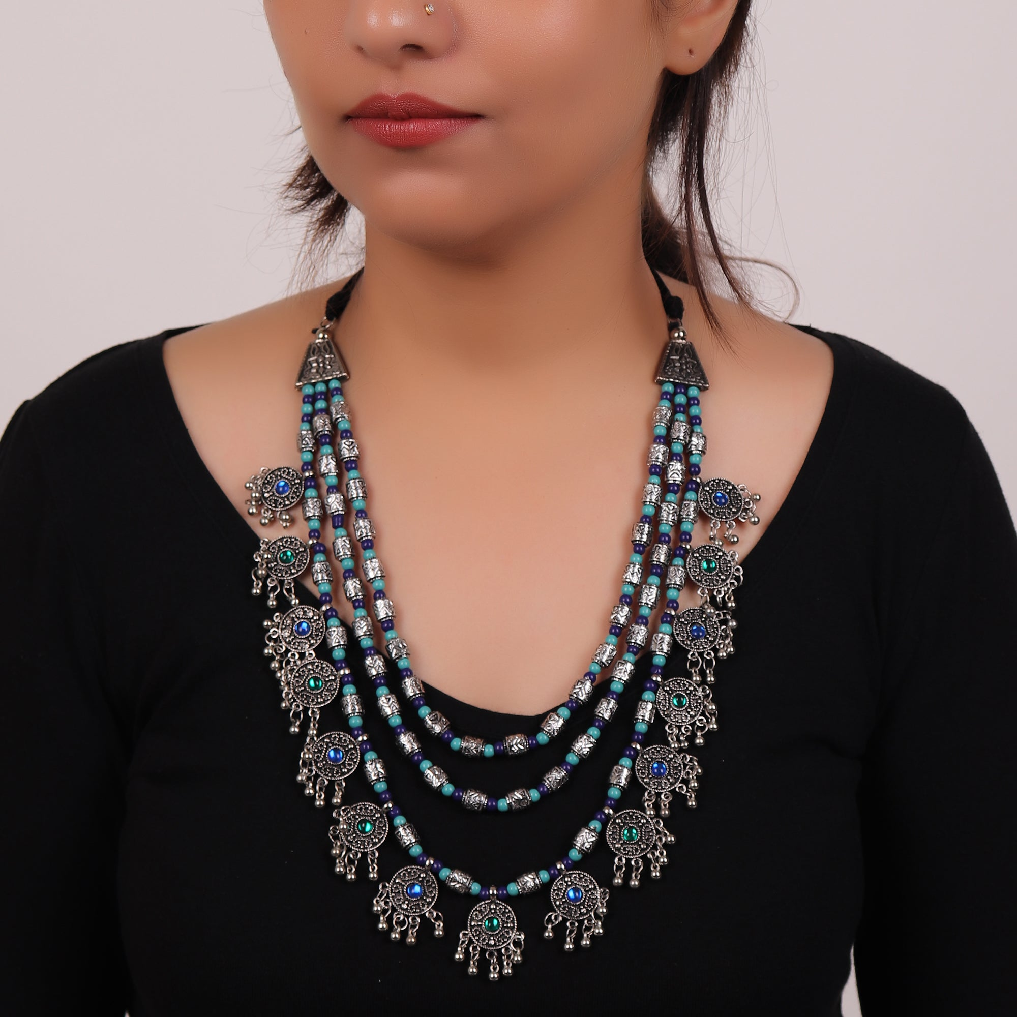 Necklace,The Cookie Layered Necklace in Midnight Blue & Turquoise - Cippele Multi Store