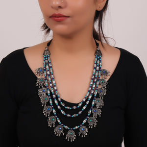The Cookie Layered Necklace in Midnight Blue & Turquoise