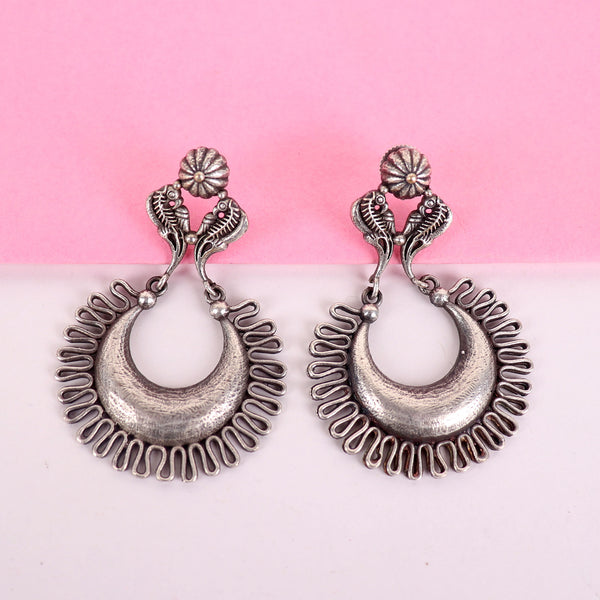 The Fenced Crescent Silver Look Alike Earrings